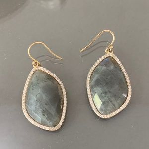 Grey stone and diamond drop earrings
